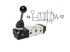 Клапан механічний, управління важелем 5/2 моностабільний